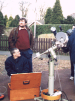 Dave Forshaw and Rob Johnson setting up Rob's Starlight Express CCD camera at Pex Hill's 5th anniversary Open Day, 20th March 1999