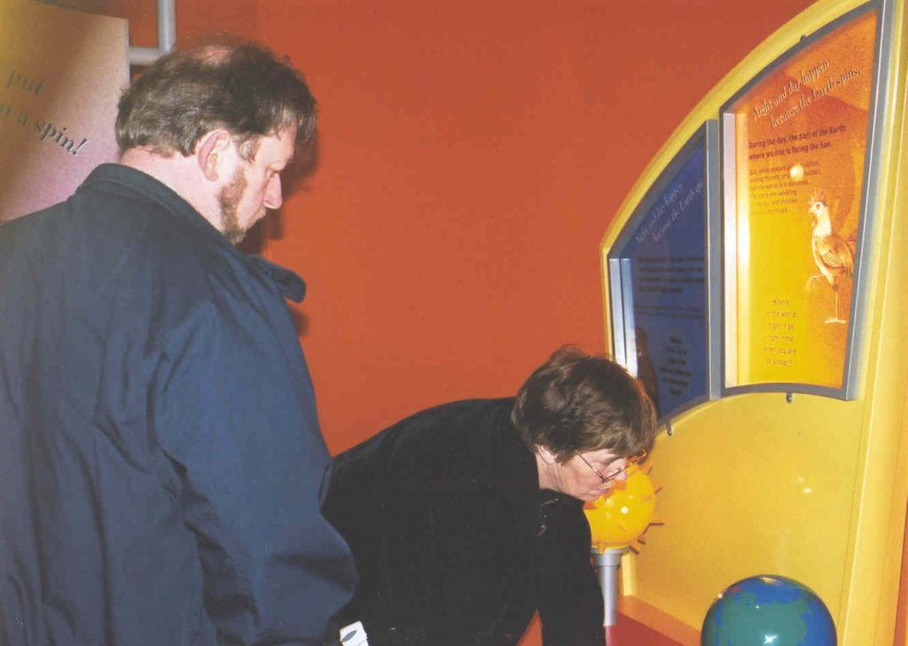 David & Pam Forshaw examine the Sun, at the National Space Centre, Leicester, Saturday April 20th 2002