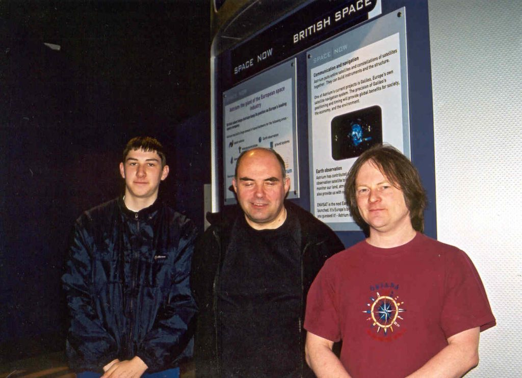 Andrew and Steven MacCarken, and Chris Banks at the National Space Centre, Saturday April 20th 2002