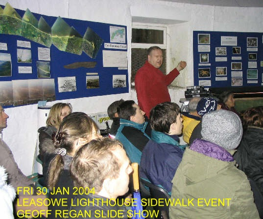Geoff Regan presenting a slideshow at the Leasowe Lighthouse Sidewalk Astronomy Event, Friday 30th January 2004