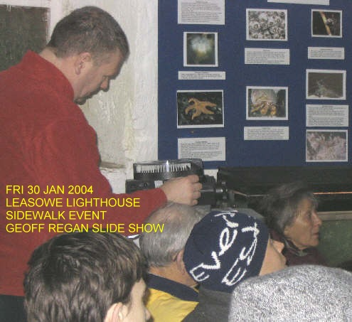 Another image of Geoff Regan presenting a slideshow at the Leasowe Lighthouse Sidewalk Astronomy Event, Friday 30th January 2004