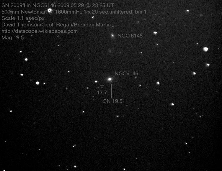 Supernova 2009fl in NGC6146, 29th May 2009 at 23:25UT