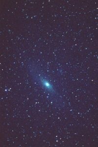 M31 Galaxy. 400mm f6.5 lens. Fujichrome provia 1600. 10mins, Tony Williams' COAA Trip, October 1998