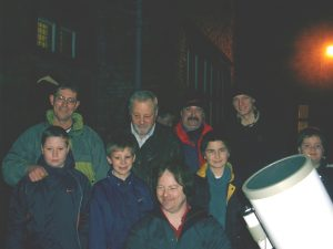Members of the public looking at live TV images of the Moon. Croxteth Park Star Party, Saturday/Sunday, February 16th/17th 2002
