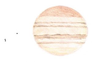 "Jupiter and 3 satellites, drawn by Geoff Regan, using an 8"" f6 (200x) at 21:33 UTC on 24th July, 1995"