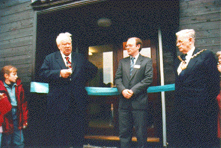 Dr. Patrick Moore C.B.E. officially opens the Observatory at Pex Hill, Sunday 20th March 1994