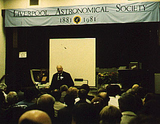 Patrick Moore at the British Astronomical Association Centenary Meeting, hosted by Liverpool Astronomical Society, 15th September 1990