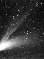 Comet Hale-Bopp (b/w) taken by Robert Read from Llyn Brening, North Wales on 10th April 1997 at 21:45 UT. 10 min Expos using Praktica MTL 5B Camera/135 mm lens at f3.5 Driven on scotch mount. Fuji Super G.800 Plus. B/W print made on Ilford Multigrade Paper.