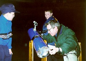 Dave Owen with a telescope at the first Young Astronomers' Day, held at Liverpool Museum in March 1988