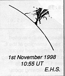 Drawing of a Prominence by Eric Strach, 10:55 UTC, 1st November, 1998