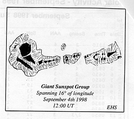 Drawing of a giant Sunspot group by Eric Strach, 12:00 UTC, 4th September, 1998