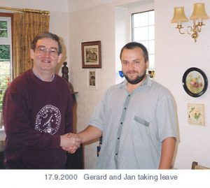 Gerard Gilligan and Jan Urban, presidents of Liverpool AS and Vlasim AS respectively, before Jan leaves Liverpool. Taken Sunday, 17th September, 2000