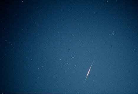 Iridium Flare, taken by Andrew and Val White. 05:08:25 BST on 18th September, 1998. Iridium 47, Magnitude -6, Elevation 56°, Azimuth 222° (SW), Image taken on 400ASA Fujichrome slide film at f1.8. 55mm Lens using Pentax MV1 Camera