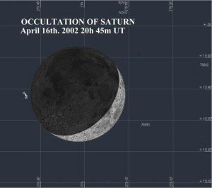 Info Sheet: Lunar Occultation of Saturn, 20:45 on 16th April, 2002