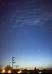 Four planets - from the top: Saturn, Venus, Jupiter and Mercury. Taken by David Forshaw in Eccleston, St Helens. 27th February, 1999 Image taken with 50mm lens/Pentax K1000 on Agfa 200 film