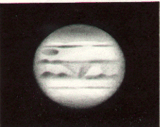 Jupiter, drawn by Stephen Taylor, using a 15cm reflector at 00:05 UTC on 18th August, 1974