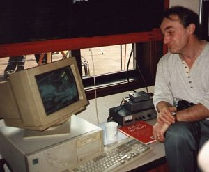 David Galvin demonstrating the reception of live weather satellite images from Meteosat, at Pex Hill during the visit by the North East Astronomical Societies on 22nd August 1998
