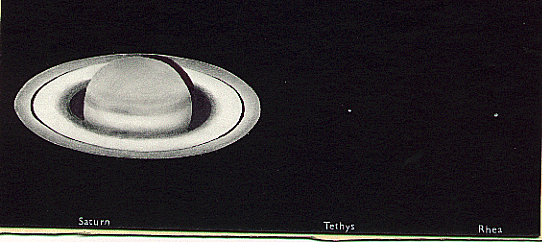 Saturn, Tethys and Rhea, drawn by Stephen Taylor, at 20:40 UTC on 25th April, 1975