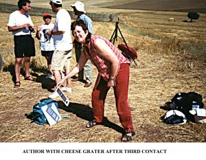 Solar Eclipse 11th August 1999 - Elaine Corry with the Cheese Grater solar projector (after Third Contact)
