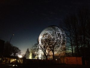 The Lovell Telescope (floodlit at night, facing away from the camera) at Jodrell Bank, at Stargazing Live 2013, Wednesday 9th January 2013
