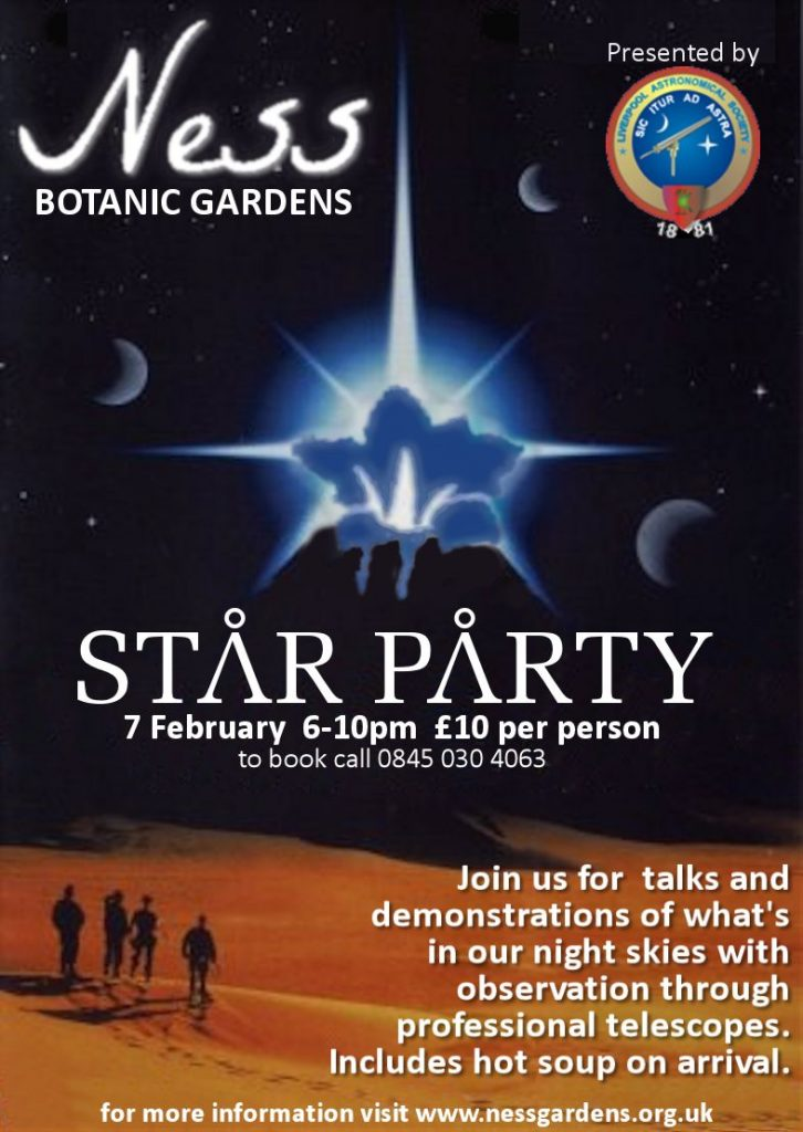 Flyer: Ness Gardens Star Party, Thursday 7th February 2013