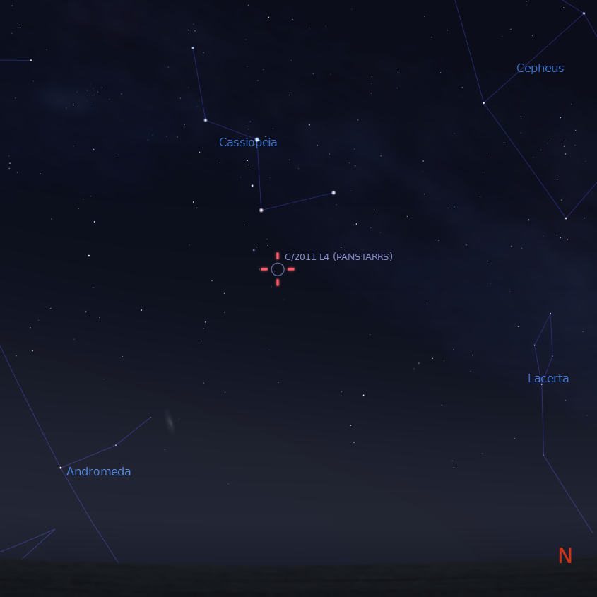 Comet C/2011 L4 (Pan-STARRS) position on 15th April 2013 at 22:00 BST