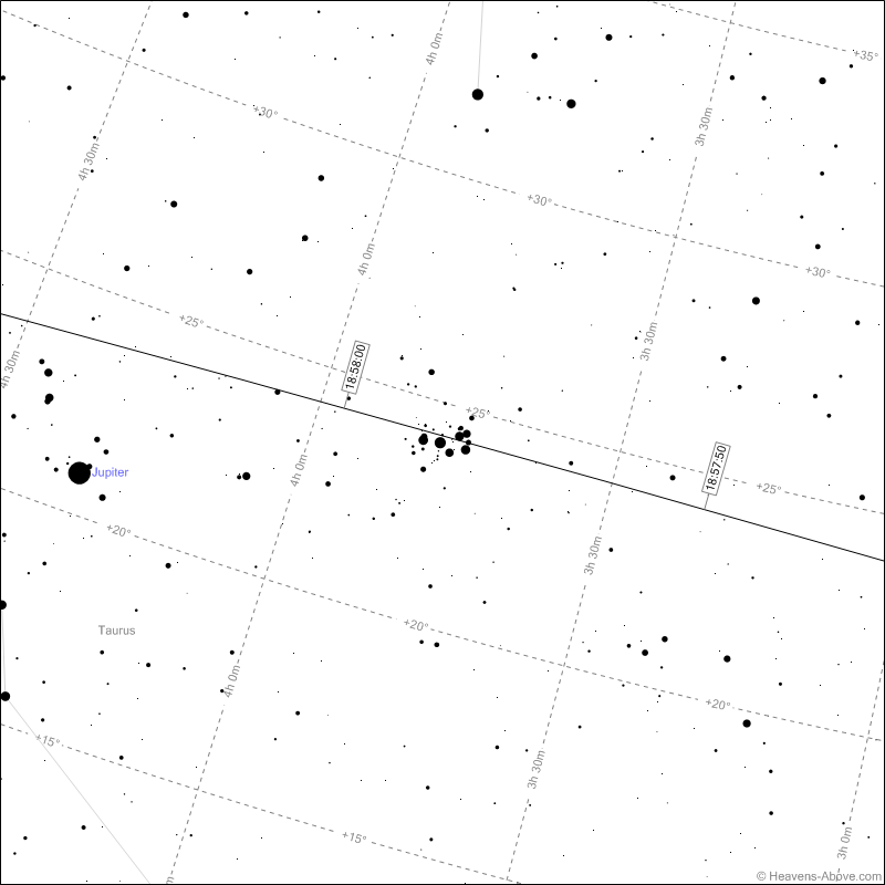ISS path passing through the Pleiades as seen from Liverpool on 19th February 2013 at 18:57 UTC