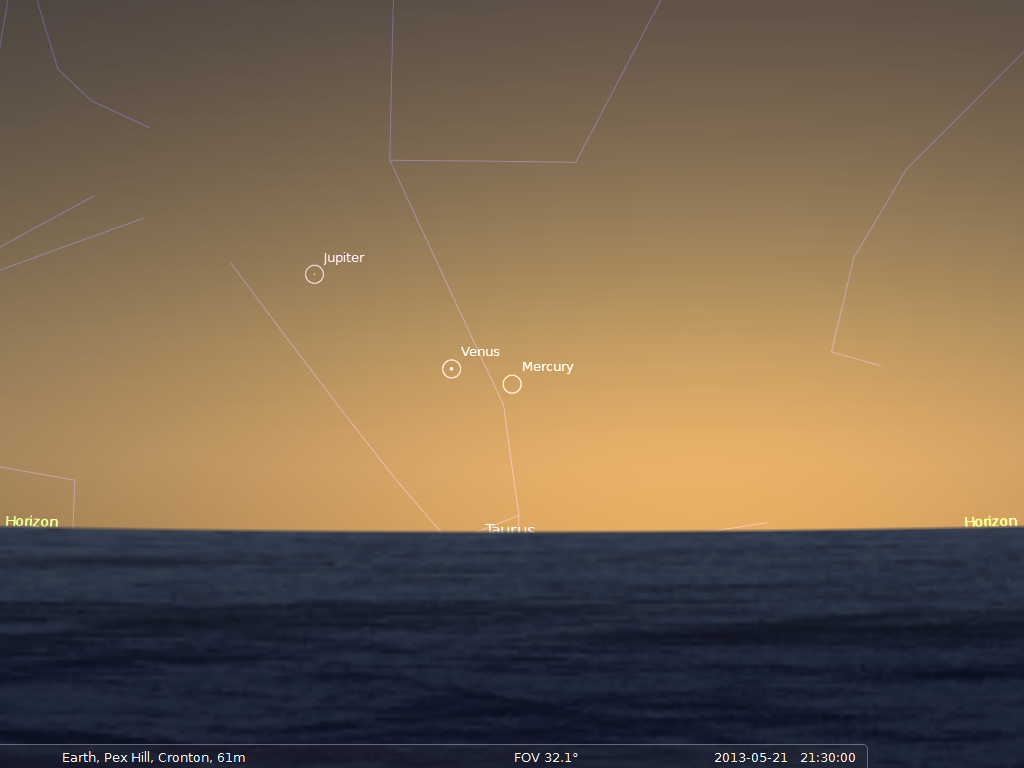 Chart: Mercury, Venus and Jupiter low in the Western sky at 21:30 BST on May 21st, 2013