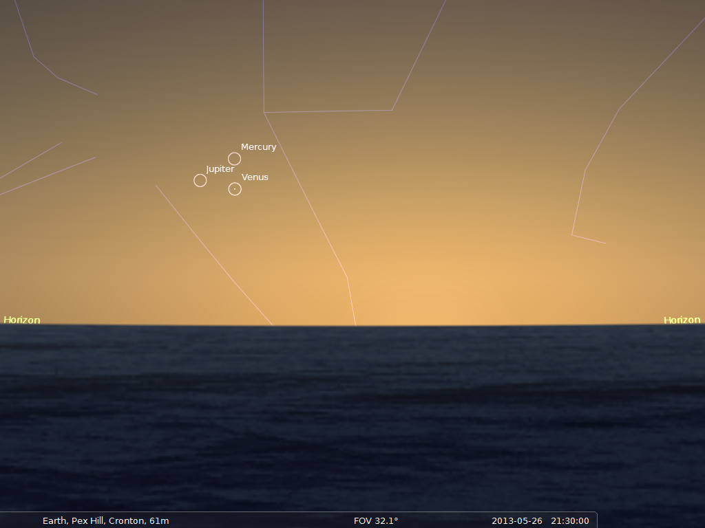 Chart: Mercury, Venus and Jupiter close together in the Western early evening sky at 21:30 BST on 26th May, 2013