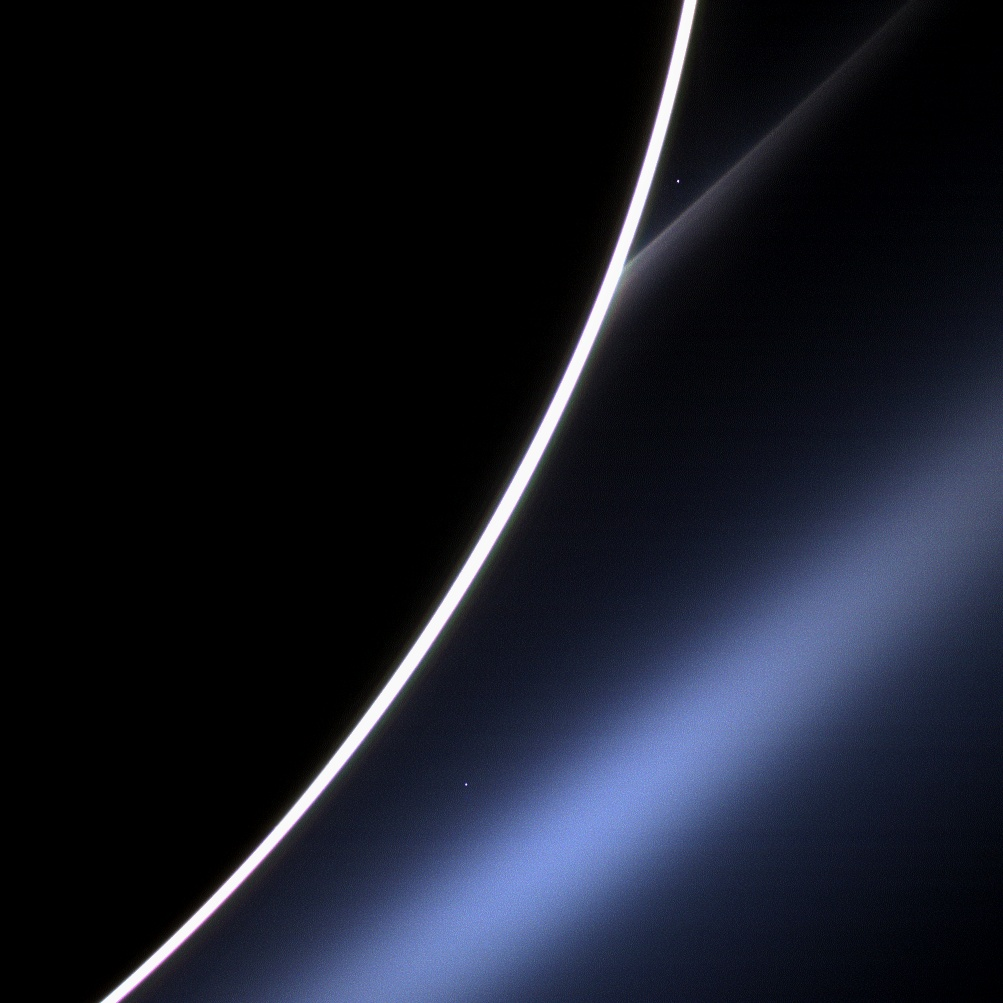 Venus, as seen from the Cassini space probe  in orbit around Saturn  on 4th March 2013