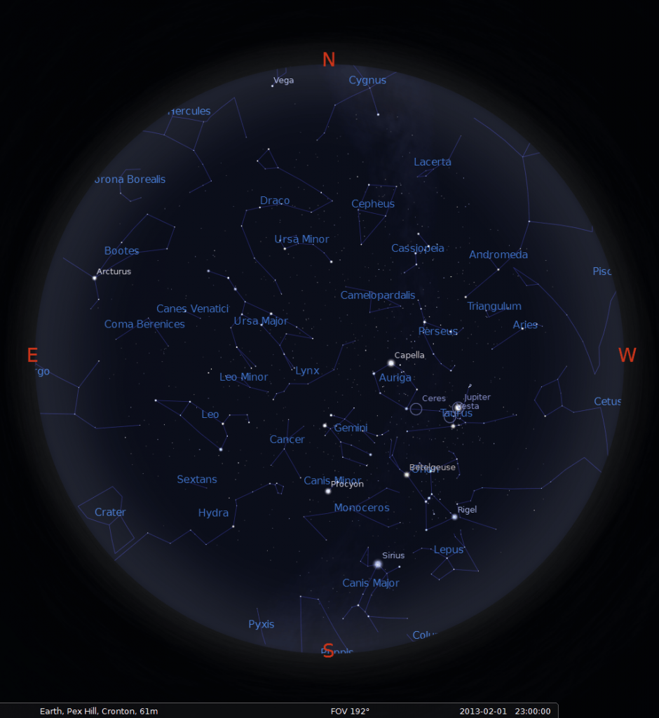 What's visible in the sky above Liverpool in February 2013? Map is valid for: 1st February 2013 at 23:00 UTC 15th February 2013 at 22:00 UTC 28th February 2013 at 21:00 UTC
