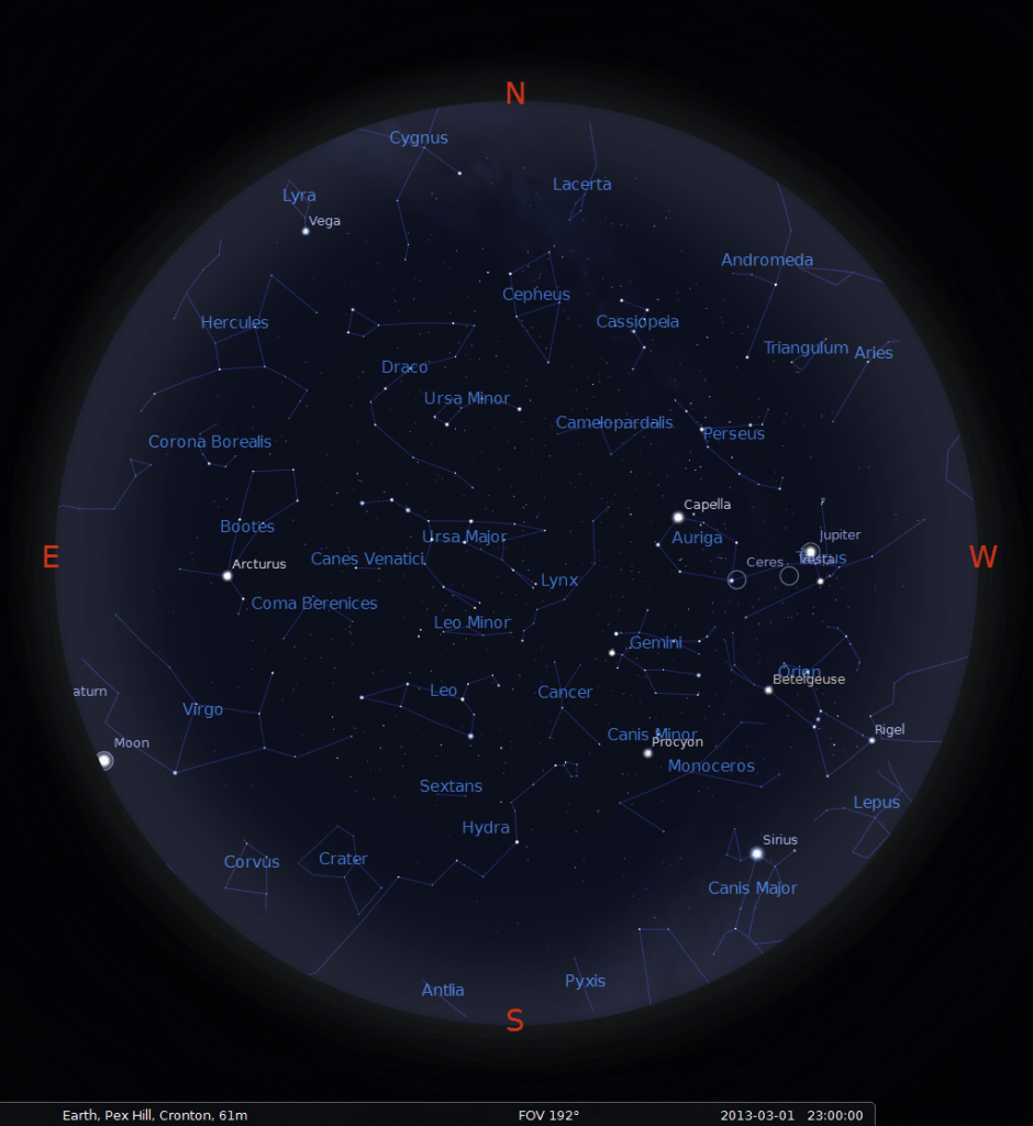 What's visible in the sky above Liverpool in March 2013? Map is valid for: 1st March 2013 at 23:00 UTC 15th March 2013 at 22:00 UTC 31st March 2013 at 21:00 UTC / 22:00 BST