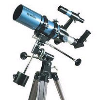 A Startravel 80mm refractor on an equatorial mount