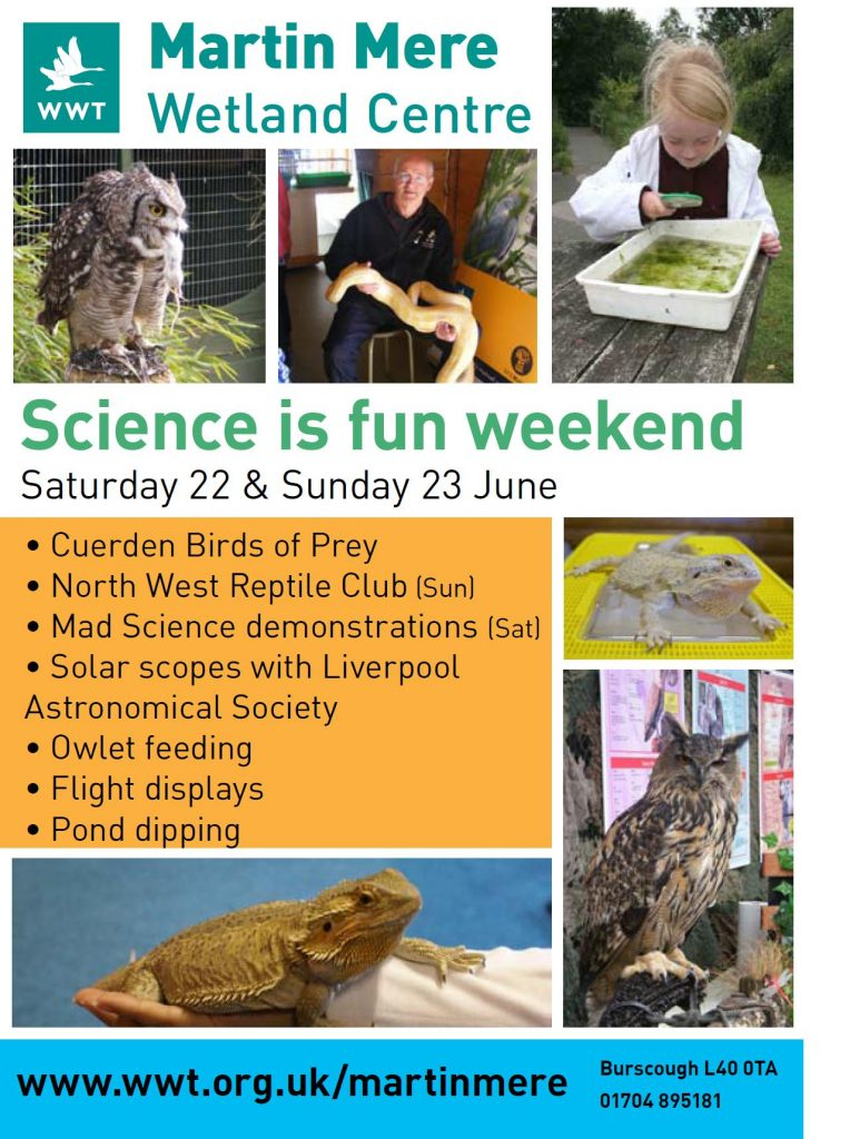 Flyer: Martin Mere Science Weekend 22nd/23rd June 2013
