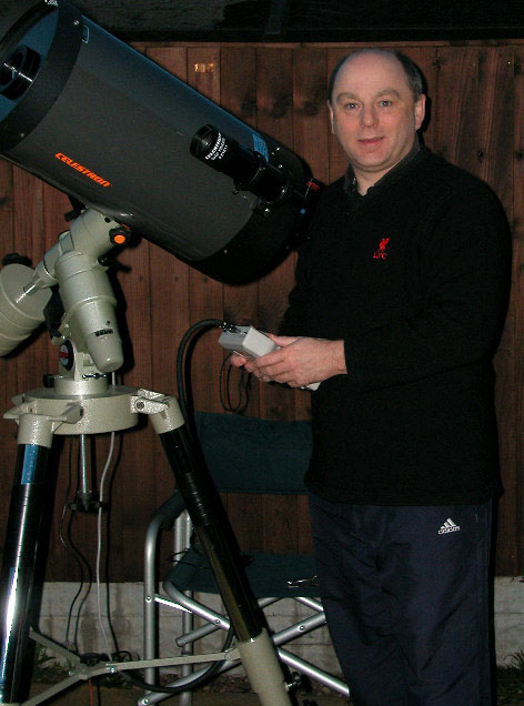 Steve Southern with his Celestron 9.25inch SCT, mounted on a Vixen GP German Equatorial Mount with a Skysensor Goto hand computer and an Orion Field Tripod