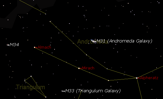 Diagram: The constellation of Andromeda (showing M31)