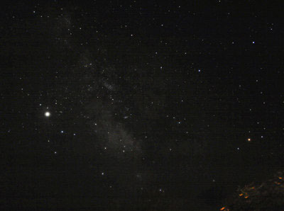 This image of the Milky Way from Arizona in Summer 2008 is a stack of two 15s exposures contrast stretched slightly