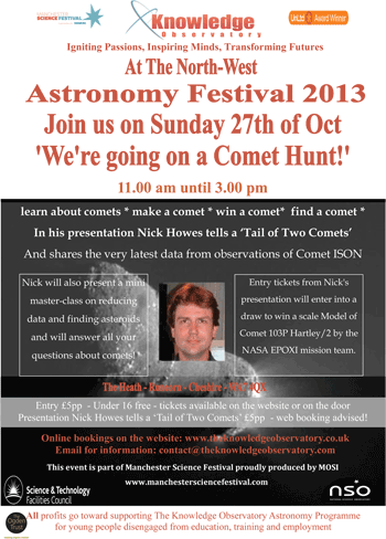 Click for full-size PDF. The Knowledge Observatory North-West Astronomy Festival 2013 Comet Hunt flyer