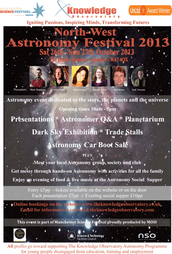 Click for full-size PDF. The Knowledge Observatory North-West Astronomy Festival 2013 flyer