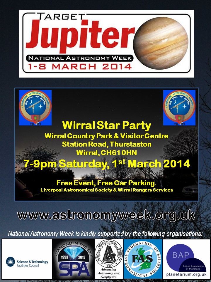 Poster: National Astronomy Week 2014 Star Party at Wirral Country Park, 1st March, 2014