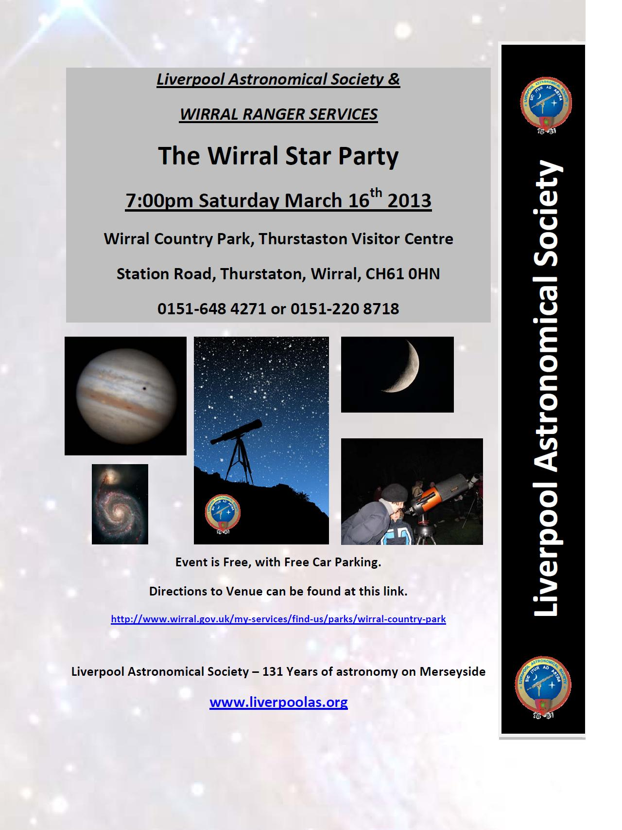 Poster: Star Party at Wirral Country Park, Saturday 16th March 2013
