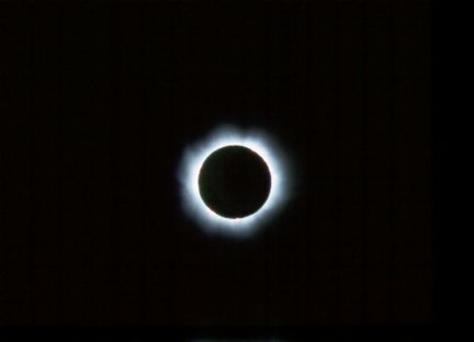 Total Solar Eclipse, August 1999 at 10:41 UT, taken by Gerard Gilligan from Altmunster, Salzkammergut Region, Austria, using Pentax K 1000 SLR Camera, fitted with 500mm f8 Canton Lens. Film used was Kodak Elite, 400 ASA slide film.