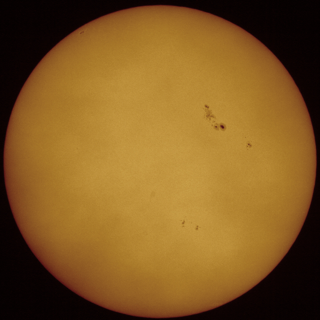Solar disc and Sunspots, taken by Mark Payne on 9th March 2012