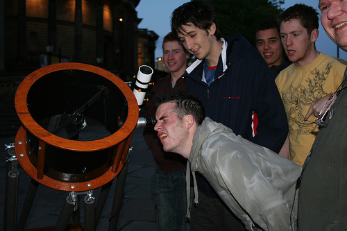 Members of the public at William Brown Street Sidewalk Astronomy event, 19th May 2007