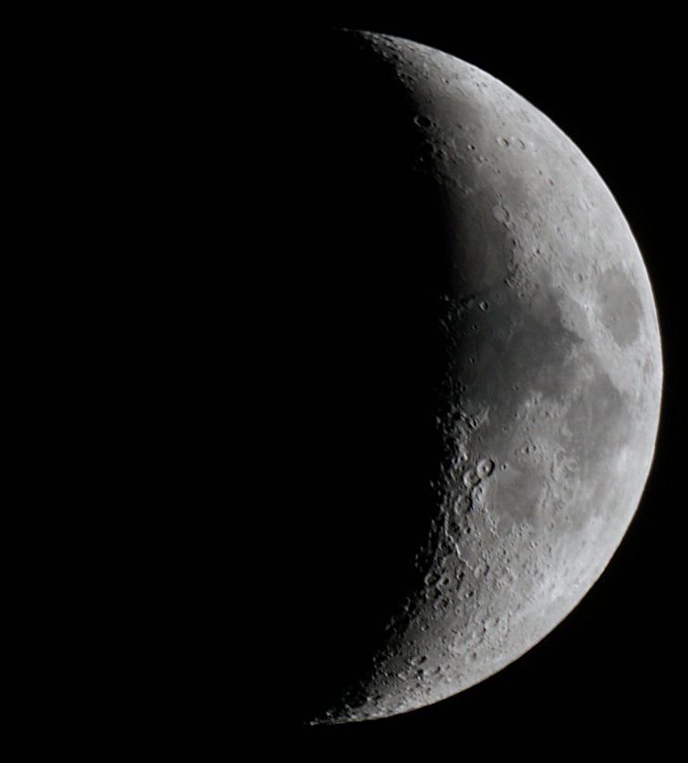 The Moon on 28th March 2012. Taken through an 8 inch reflector at prime focus by Colin Murray