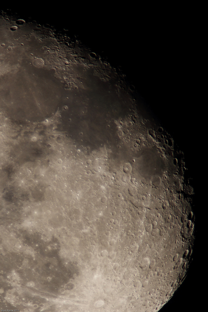 Lunar terminator taken by Mark Payne, 22nd January 2010. Shot using a Skywatcher Equinox 80 Pro APO Refractor with stacked Canon EF 1.4x & 2x extenders to give a focal length of 1400mm (~f/17.5) at prime focus