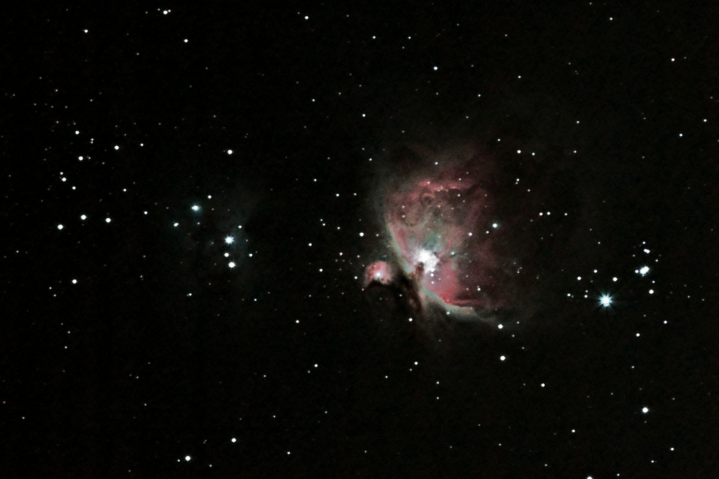 The Great Orion Nebula (M42/M43), taken by Mark Payne, date on or before 28th January 2011. Shot using Unmodded Canon 7D and Canon EF 300mm f/4L IS USM mounted to an Astrotrac Heavily cropped from original file.
