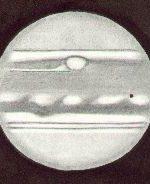 Jupiter, drawn by Ken Clarke, as viewed through a 10″ F4.3 Reflector, 308x. w1=48.8deg, w2=66.5deg, seeing 2-3/5, at 21:25 UTC on May 1st, 1991