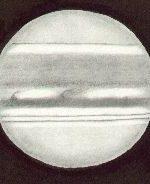 Jupiter, drawn by Ken Clarke, as viewed through a 10″ F4.3 Reflector, 308x. w1=164eg, w2=283deg, seeing 4/5, at 20:16 UTC on May 2nd, 1991
