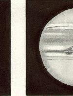 Jupiter, drawn by Ken Clarke, as viewed through a 10″ F4.3 Reflector, 308x. w1=291.4deg, w2=231.6deg, seeing 3-4/5, at 20:20 UTC on March 25th, 1991 - Left Image: Ganymede at 21:05 UT (7 minutes into Transit)
